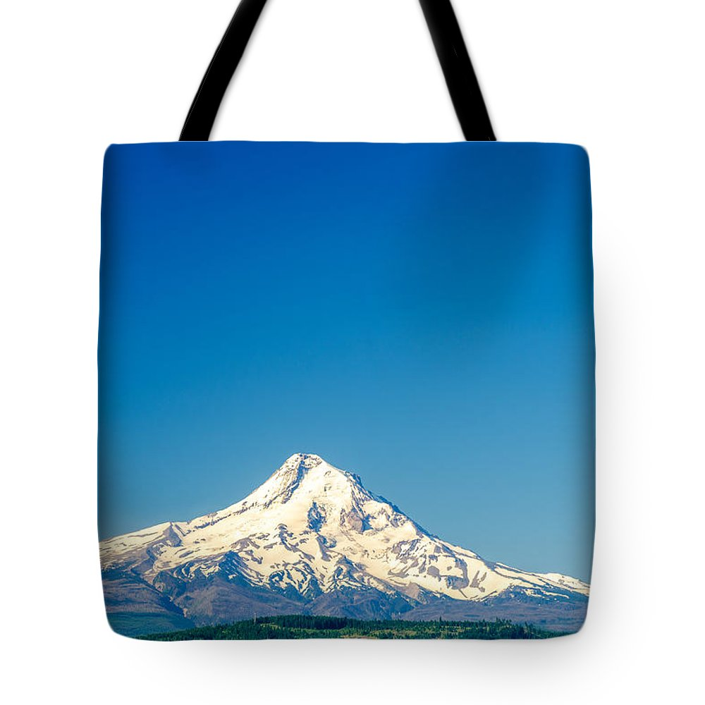 Mountain Tote Bag featuring the photograph Mt. Hood And Blue Sky by Jess Kraft
