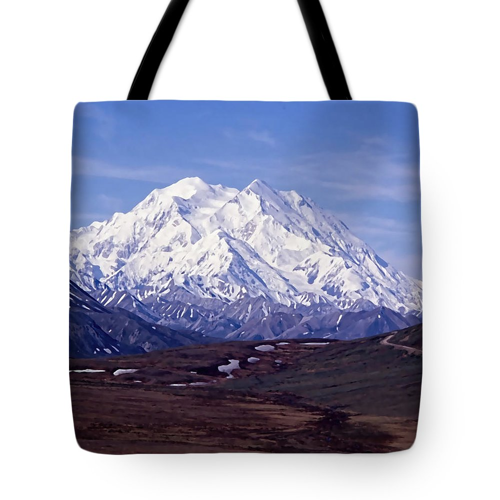 Mt. Mckinley Tote Bag featuring the digital art Mt. Mckinley by Cathy Anderson