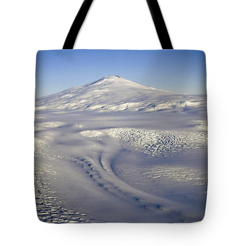 Aerial Tote Bag featuring the photograph Mt Melbourne Dormant Volcano by Tui De Roy