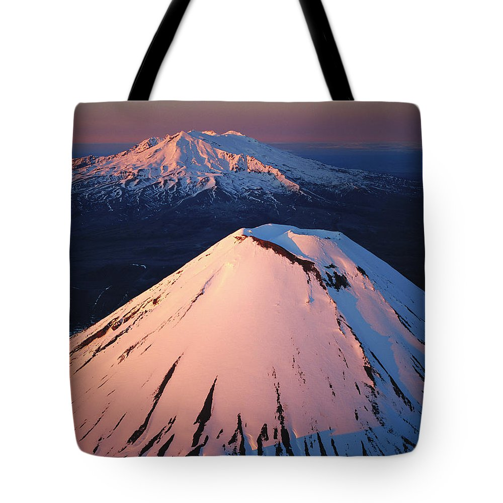 Hh Tote Bag featuring the photograph Mt Ngauruhoe And Mt Ruapehu by Rob Brown