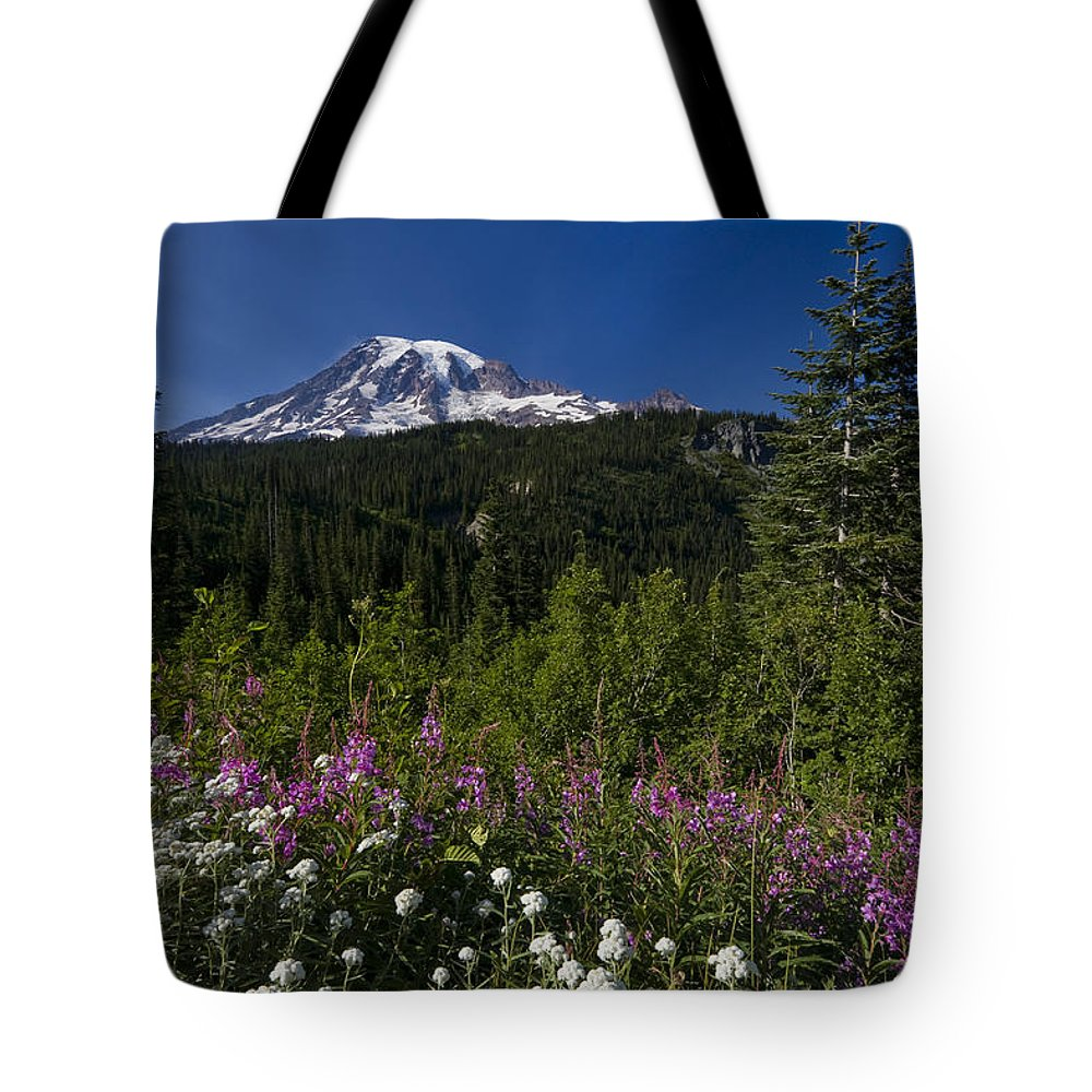 3scape Tote Bag featuring the photograph Mt. Rainier by Adam Romanowicz