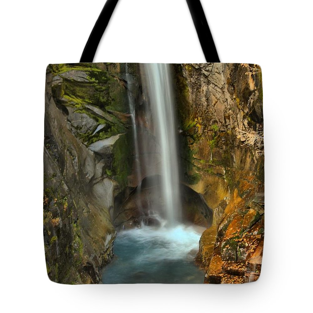 Christine Falls Tote Bag featuring the photograph Mt Rainier Waterfall by Adam Jewell