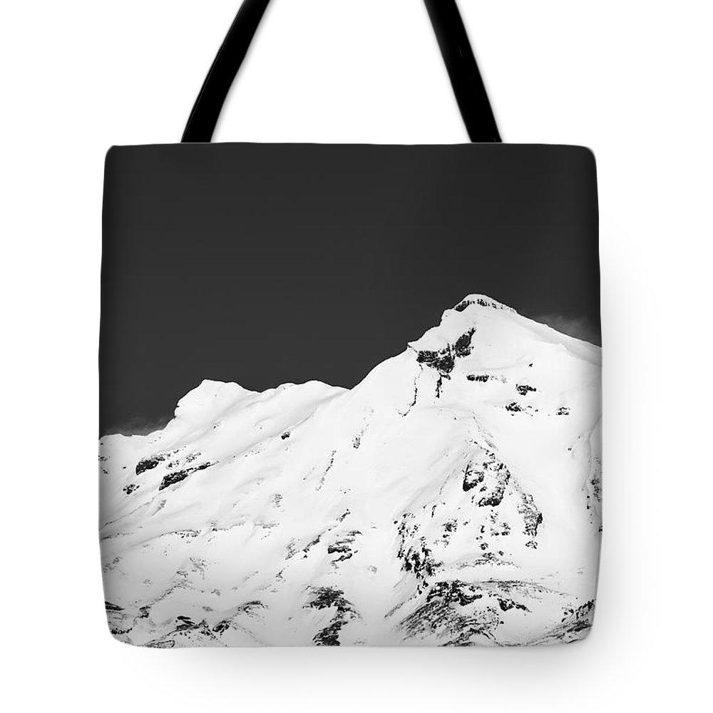 Mount Ruapehu Tongariro National Park New Zealand Mountain Mountains Volcano Volcanos Landscape Landscapes Snow Snowscape Snowscapes Black And White Tote Bag featuring the photograph Mt. Ruapehu 2 by Bob Phillips
