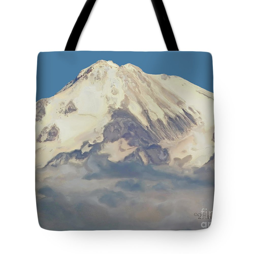 Mt. Shasta Summit Tote Bag featuring the photograph Mt. Shasta Summit by Methune Hively