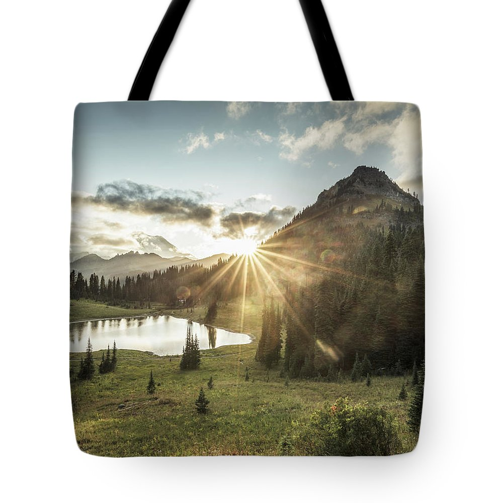 Scenics Tote Bag featuring the photograph Mt.rainier In Sunset by Chinaface