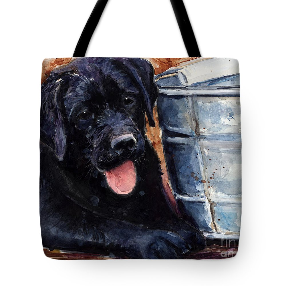 Labrador Retriever Tote Bag featuring the painting Mud Pies by Molly Poole