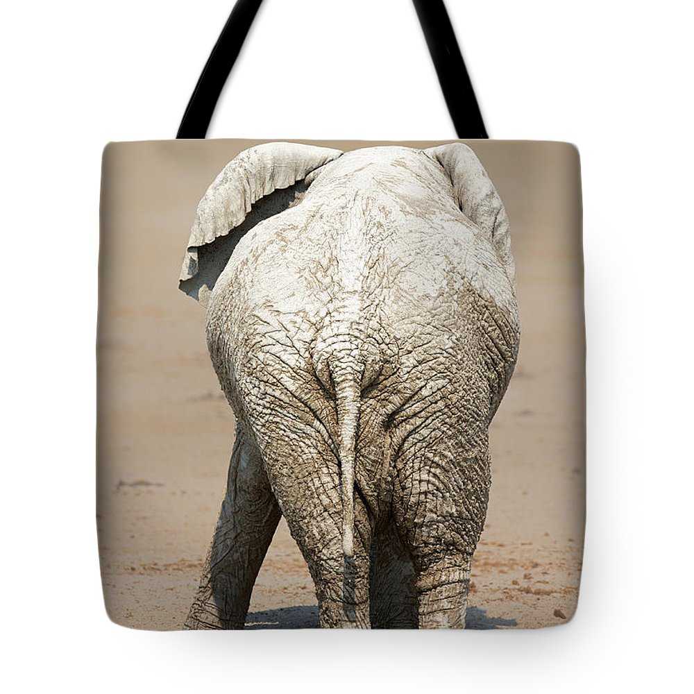 Elephant Tote Bag featuring the photograph Muddy elephant with funny stance by Johan Swanepoel