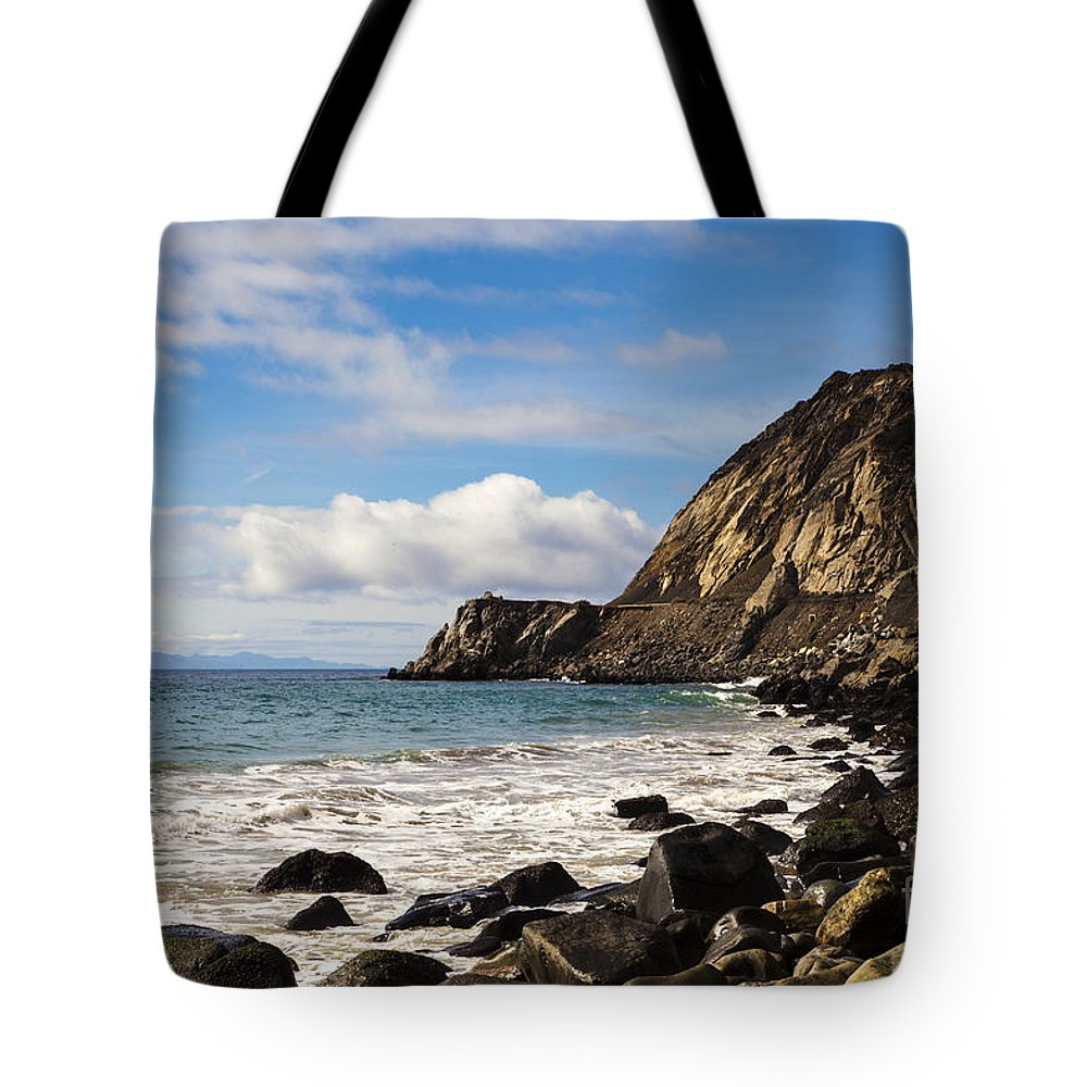 Ocean Tote Bag featuring the photograph Mugu Rock by David Millenheft
