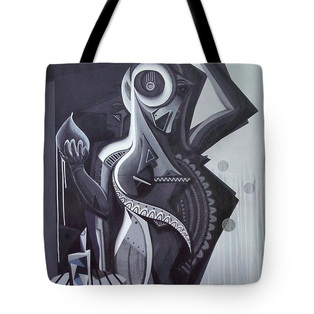 Acrilic Tote Bag featuring the painting Mujer End Grises by Pablo Mendoza