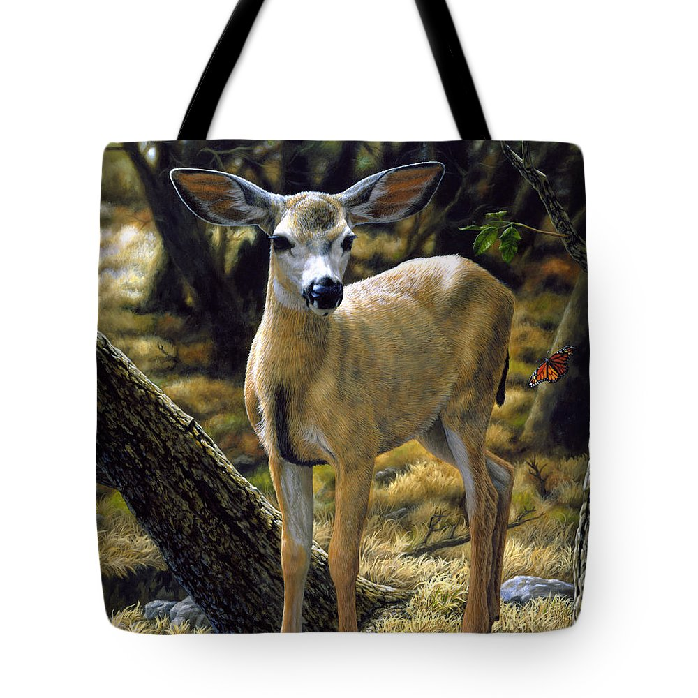 Deer Tote Bag featuring the painting Mule Deer Fawn - Monarch Moment by Crista Forest