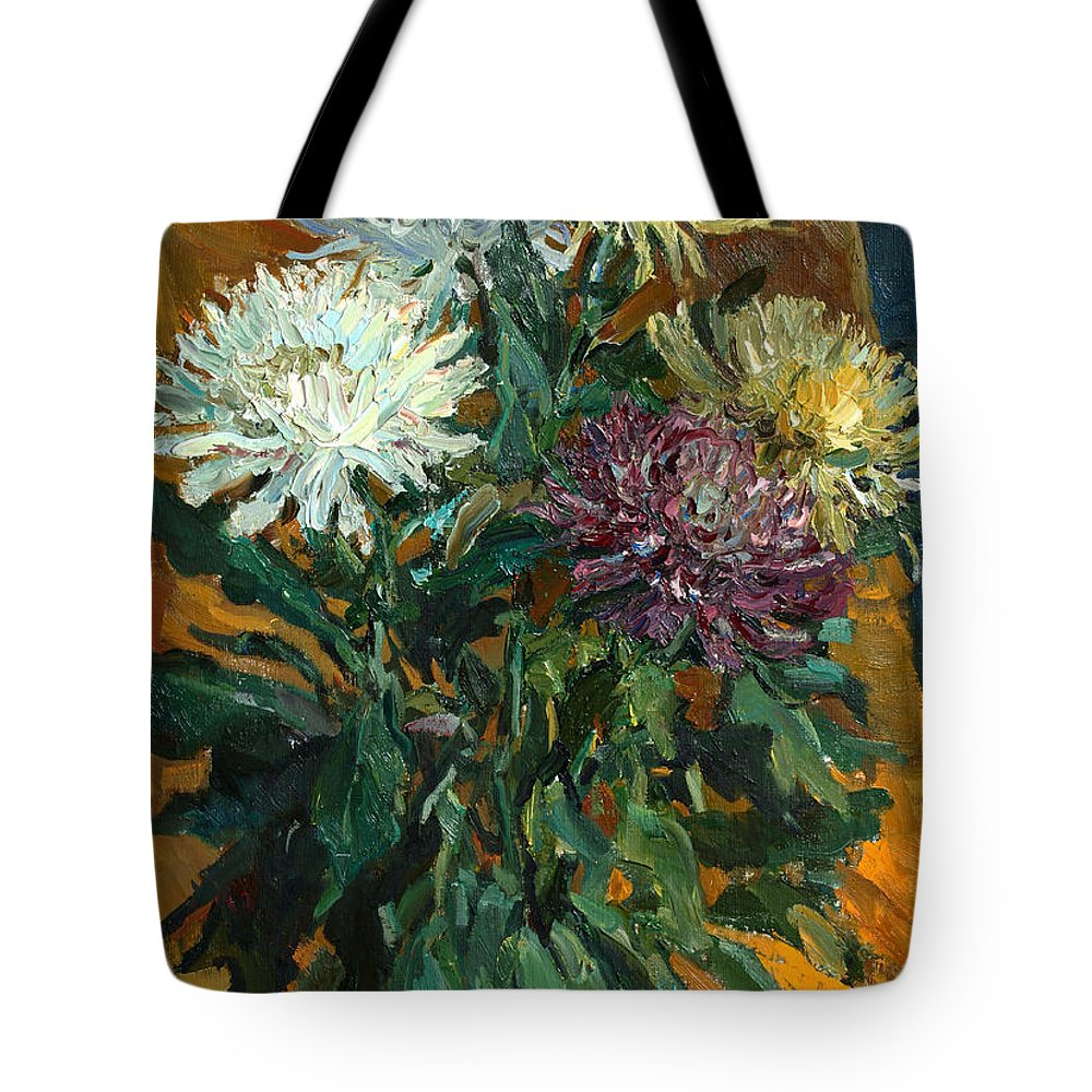 Still Life Tote Bag featuring the painting Multi Colored Chrysanthemums by Juliya Zhukova