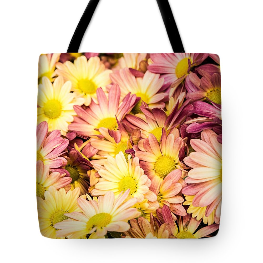 Daisies Tote Bag featuring the photograph Multi-colored Daisies by Onyonet Photo Studios