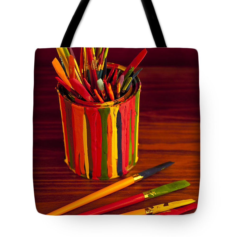 Art Tote Bag featuring the photograph Multi Colored Paint Brushes by Jim Corwin