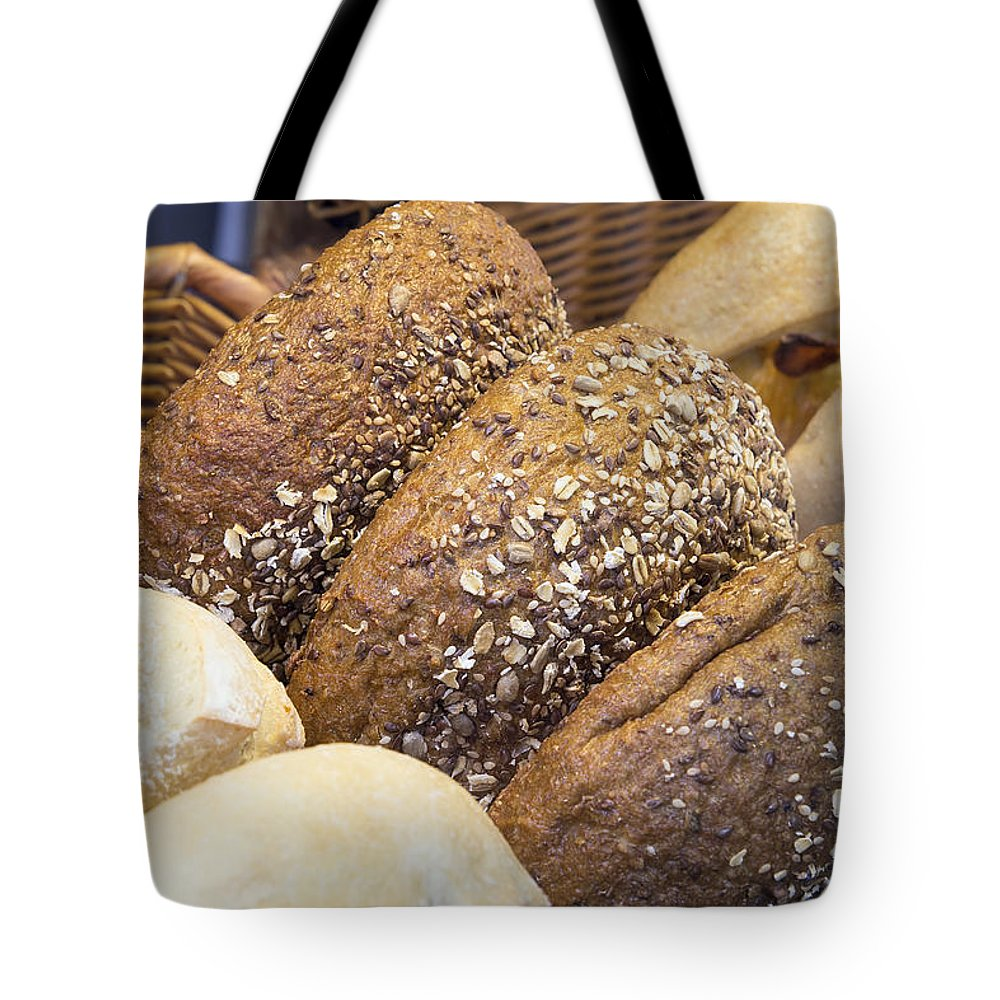Multi Tote Bag featuring the photograph Multi Grain Bagels Closeup by Jit Lim