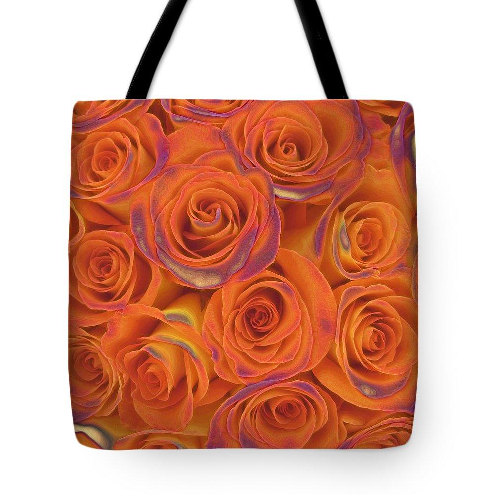 Rose Tote Bag featuring the photograph Multi Rose Electric Orange by Joseph Hedaya