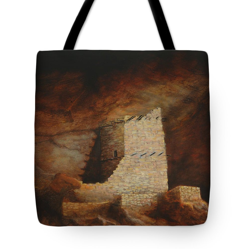 Anasazi Tote Bag featuring the painting Mummy Cave by Jerry McElroy