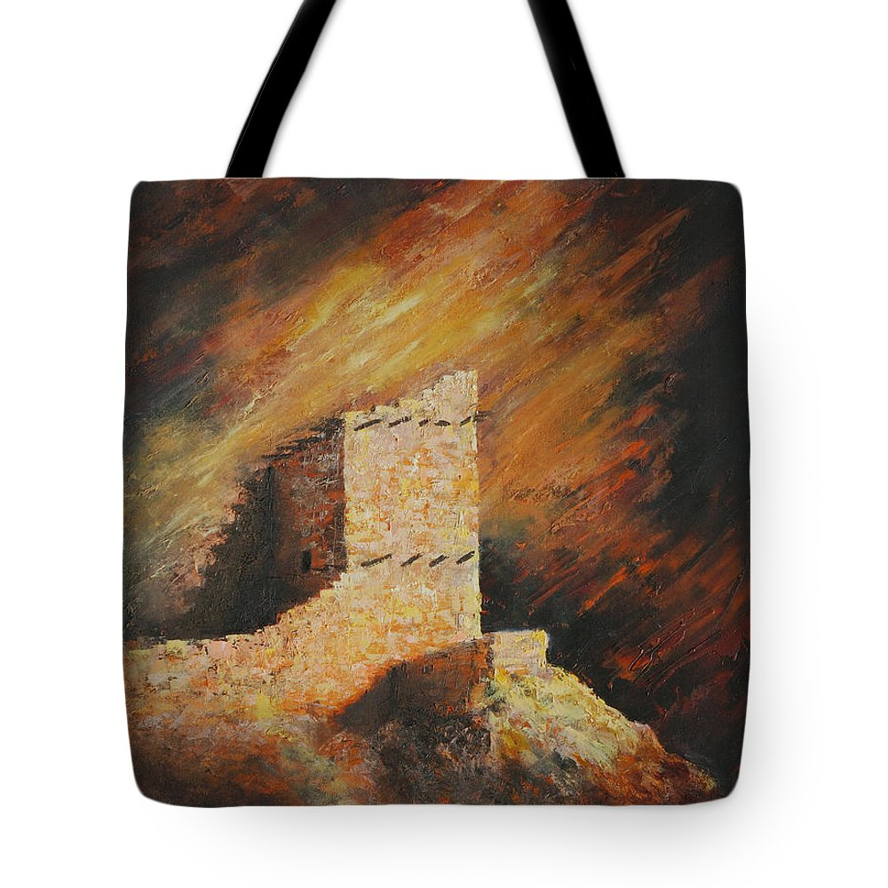 Anasazi Tote Bag featuring the painting Mummy Cave Ruins 2 by Jerry McElroy