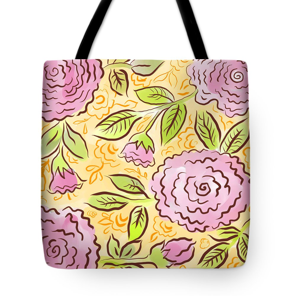 Pink Tote Bag featuring the digital art Mums And Roses by Elaine Jackson