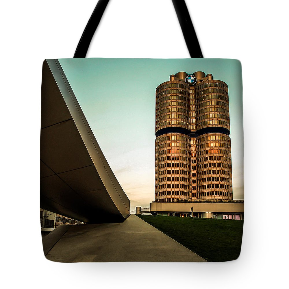 Architecture Tote Bag featuring the photograph munich - BMW office - vintage by Hannes Cmarits