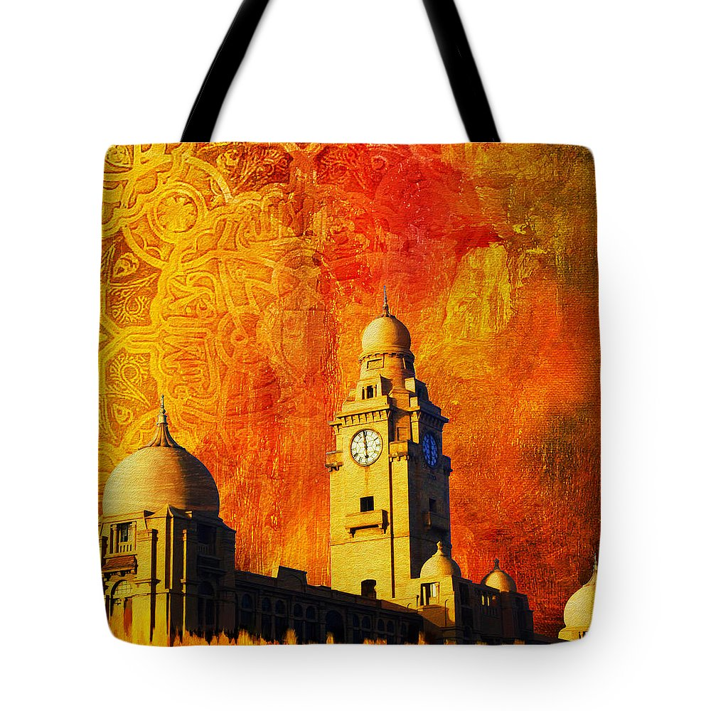 Pakistan Tote Bag featuring the painting Municipal Corporation Karachi by Catf