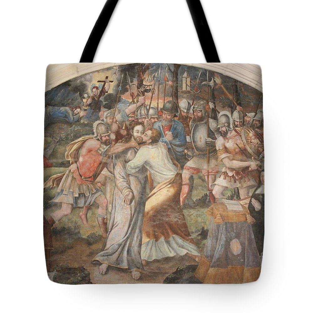 Wall Tote Bag featuring the photograph Mural Painting Abbey Fontevraud by Christiane Schulze Art And Photography