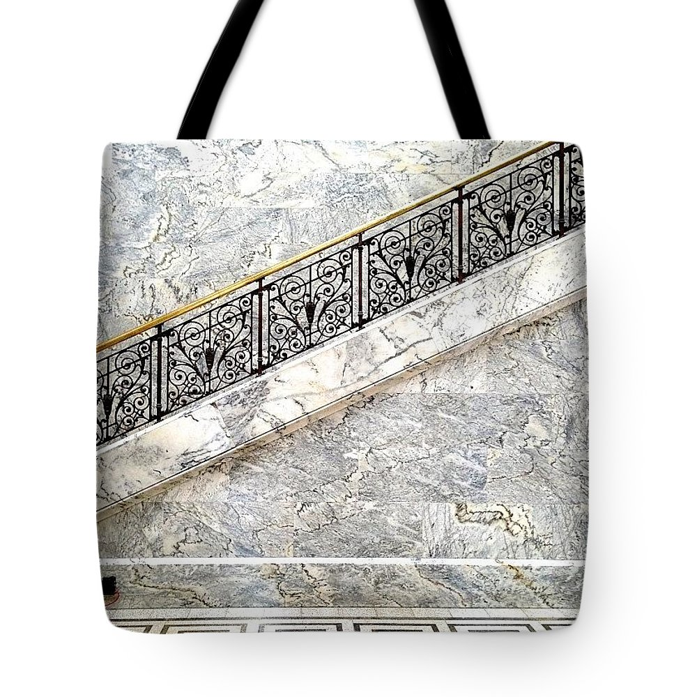 Blackandwhiteincolor Tote Bag featuring the photograph Museum Lobby by Julie Gebhardt