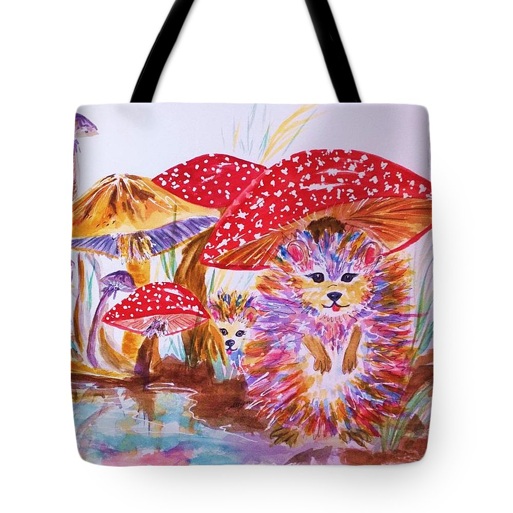 Mushrooms Tote Bag featuring the painting Mushrooms And Hedgehogs by Ellen Levinson