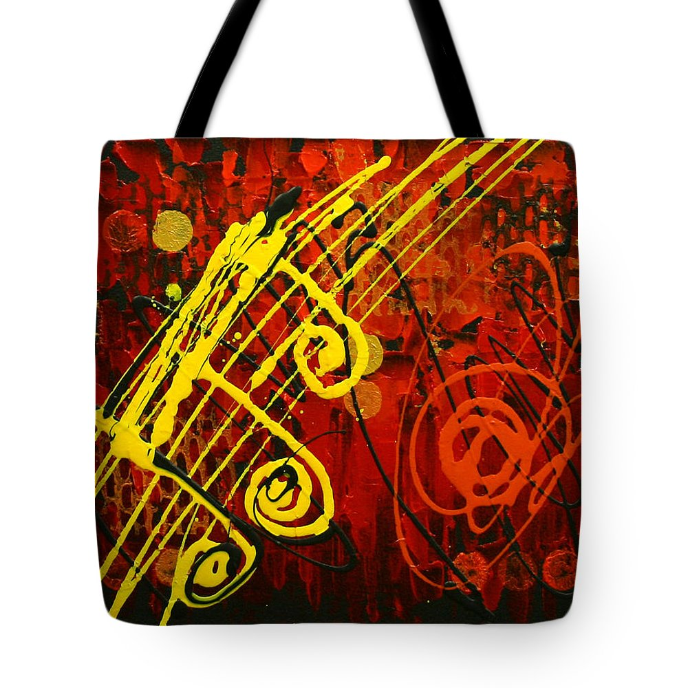Paintings Paintings Tote Bag featuring the painting Music 2 by Leon Zernitsky