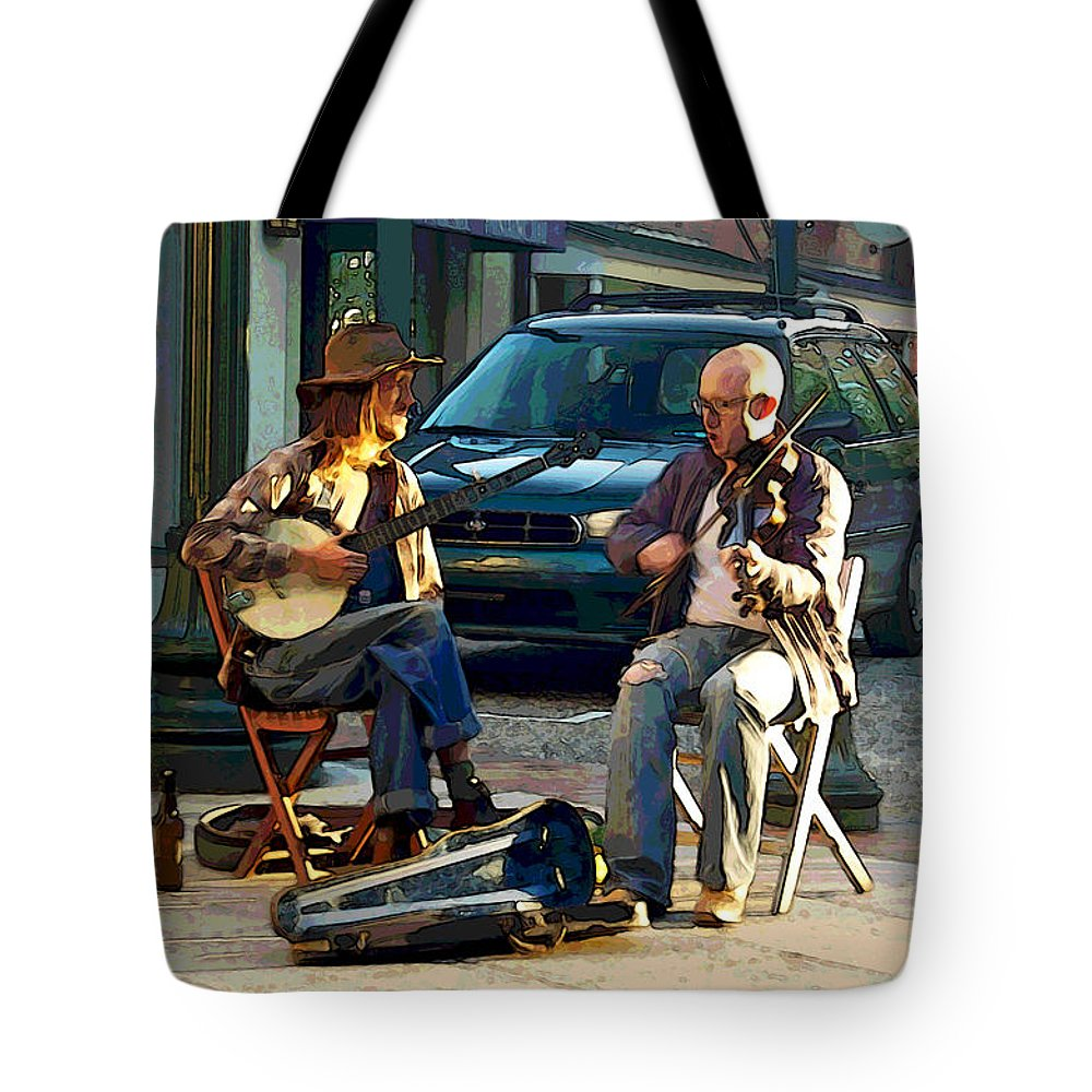 Street Musicians Tote Bag featuring the photograph Music In The Air by Suzanne Gaff