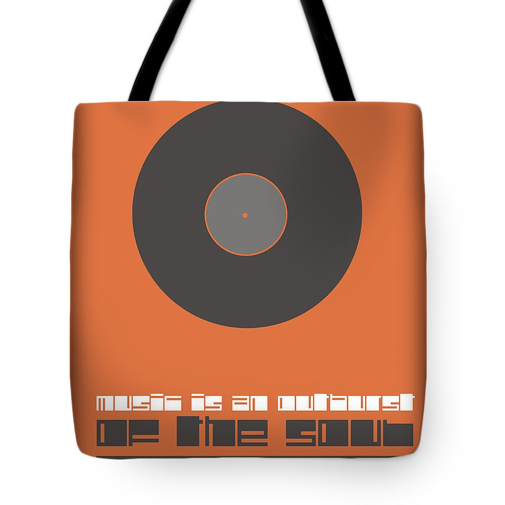 Quotes Tote Bag featuring the digital art Music Is The Soul Poster by Naxart Studio
