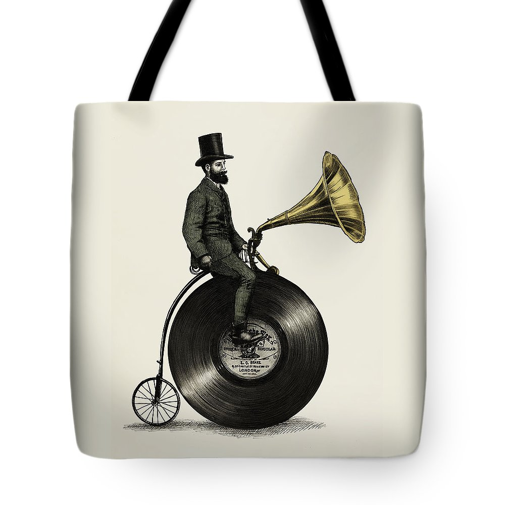 Music Tote Bag featuring the drawing Music Man by Eric Fan