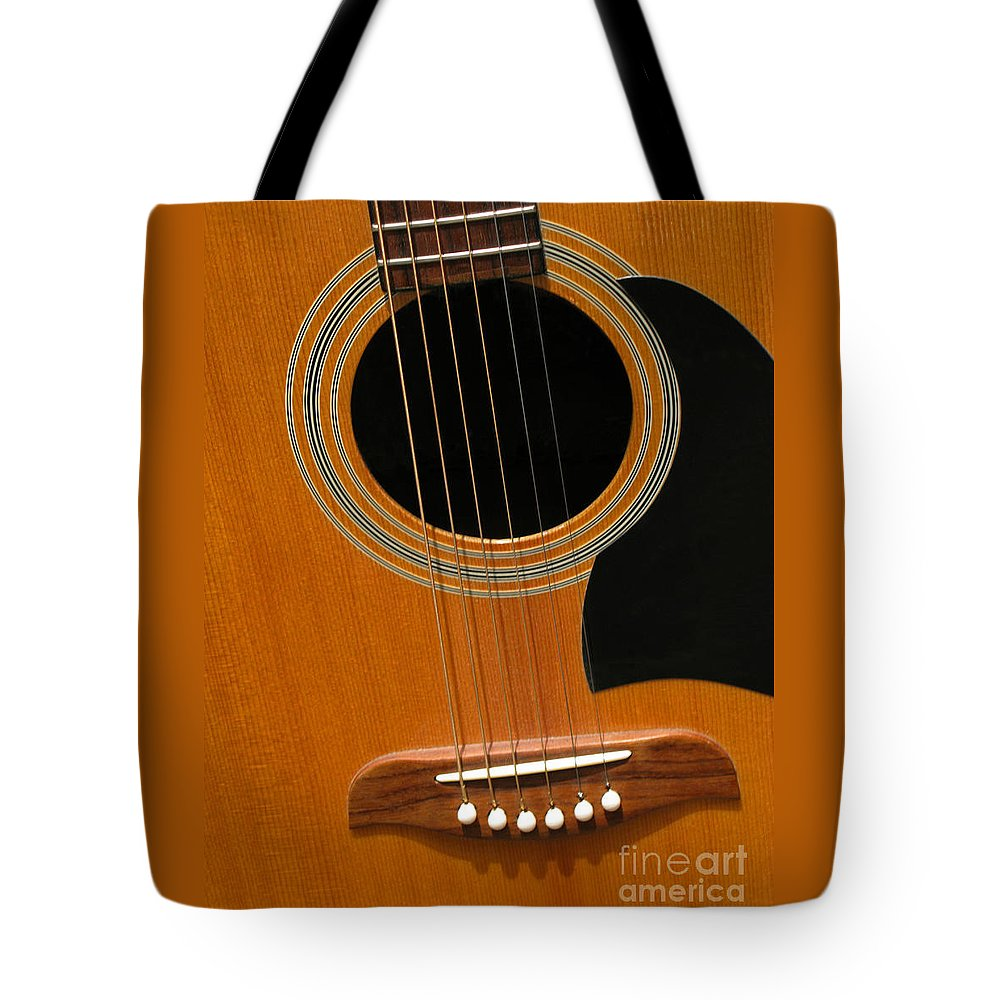 Guitar Tote Bag featuring the photograph Musical Abstraction by Ann Horn