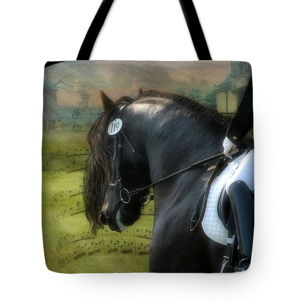 Friesian Horses Tote Bag featuring the digital art Musical Freestyle by Fran J Scott