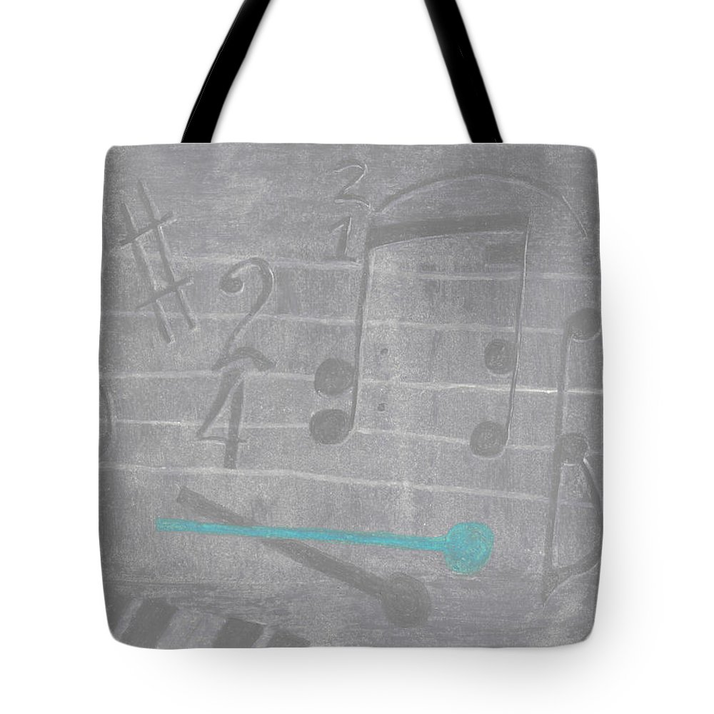 Music Tote Bag featuring the pastel Musical Notes And Instruments Set To Gray With A Blue Drumstick Accent by Jessica Foster