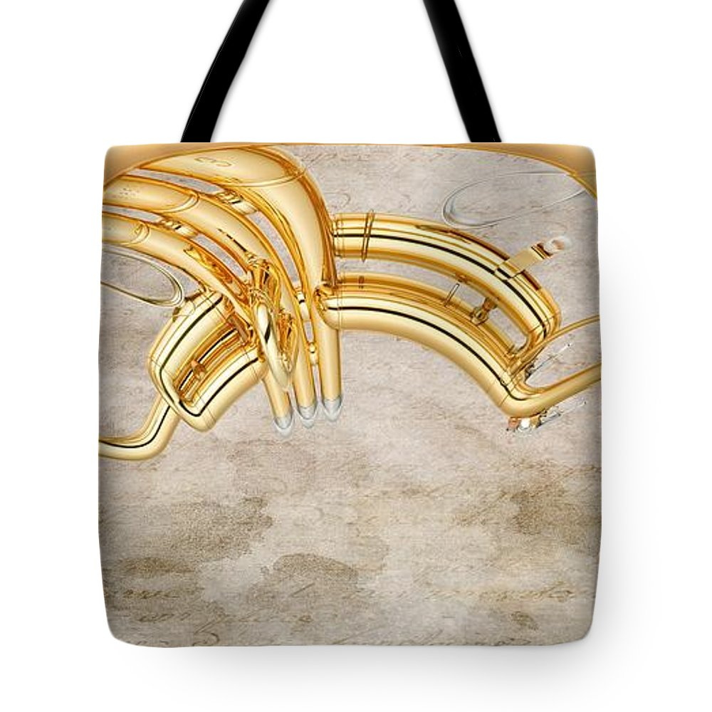 Music Tote Bag featuring the digital art Musikalis - D11b by Variance Collections