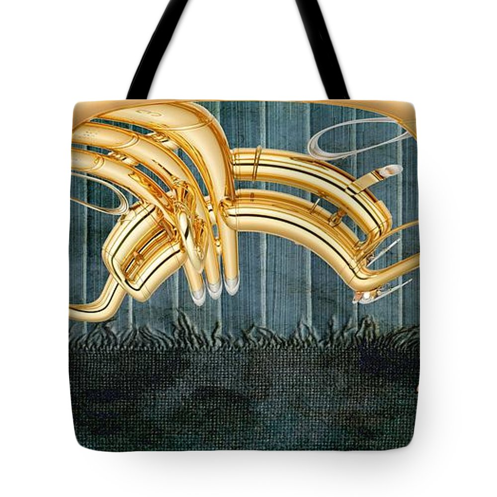 Music Tote Bag featuring the digital art Musikalis - D11bt2 by Variance Collections