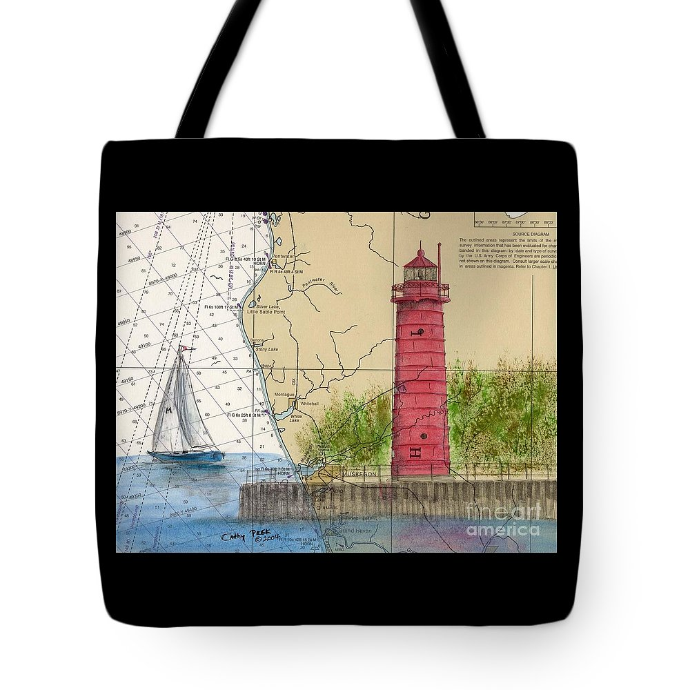 Muskegon Tote Bag featuring the painting Muskegon Lighthouse Mi Nautical Chart Map Art Cathy Peek by Cathy Peek