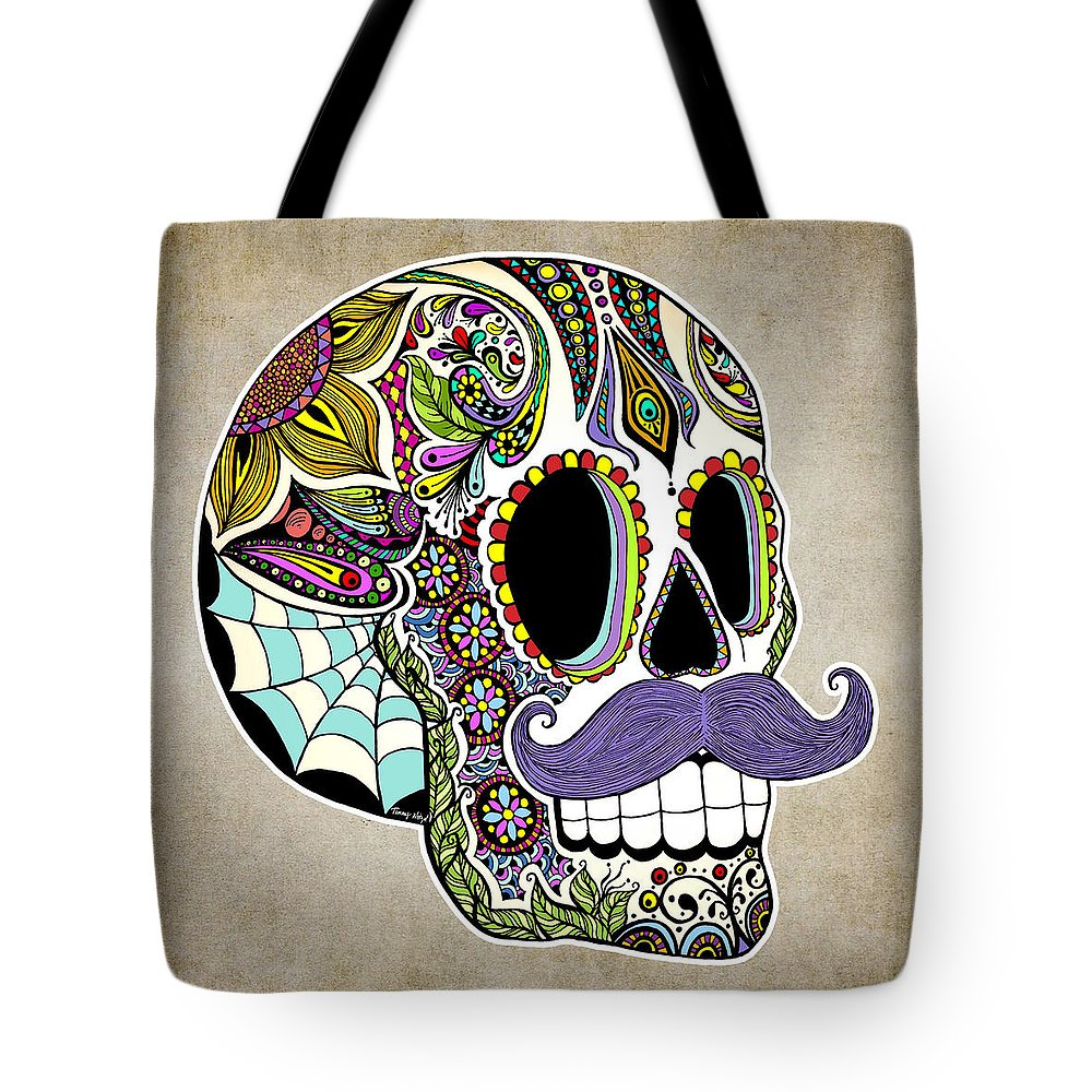 Vintage Tote Bag featuring the digital art Mustache Sugar Skull Vintage Style by Tammy Wetzel