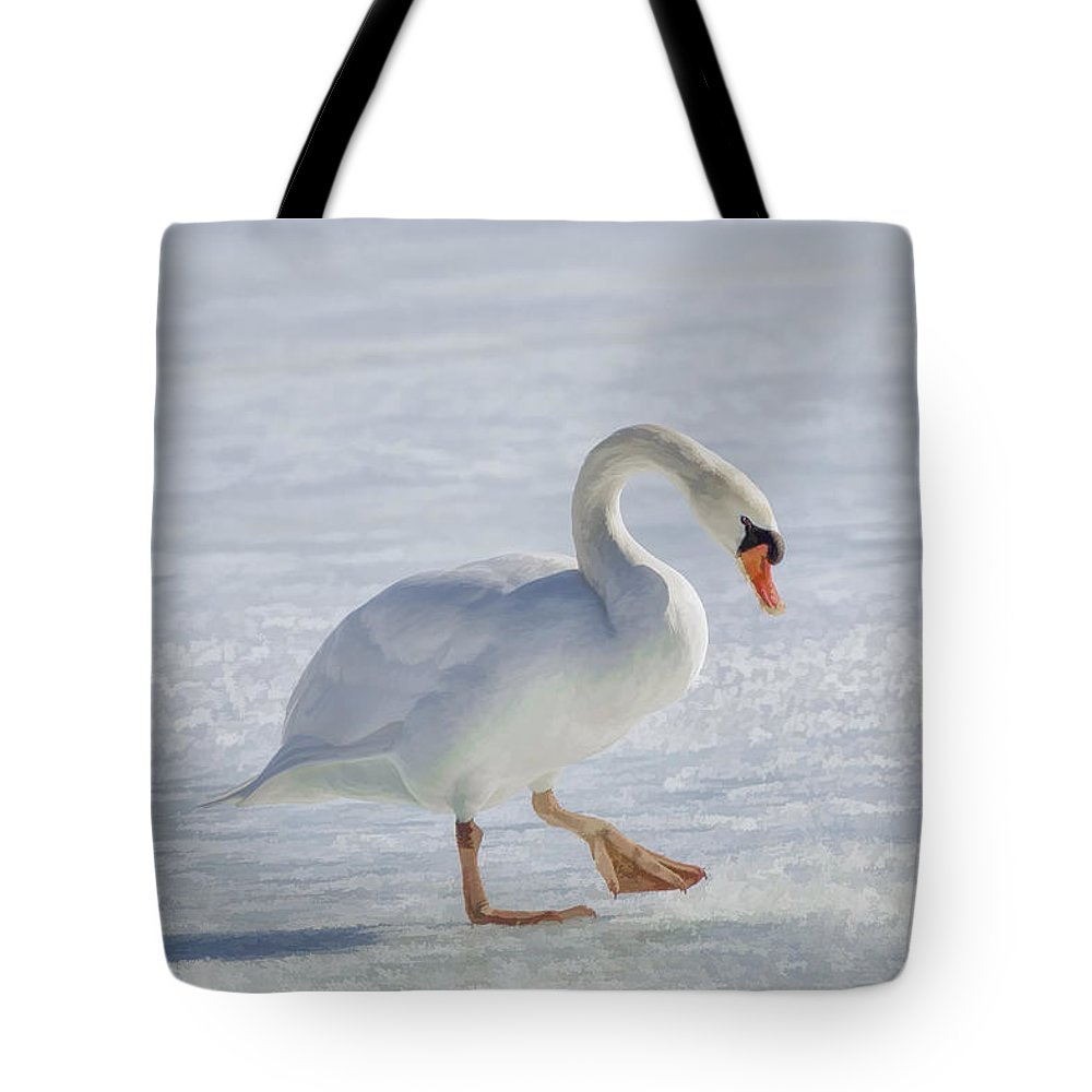 Mute Swan On St Clair River Tote Bag featuring the photograph Mute Swan Oil Paint by LeeAnn McLaneGoetz McLaneGoetzStudioLLCcom