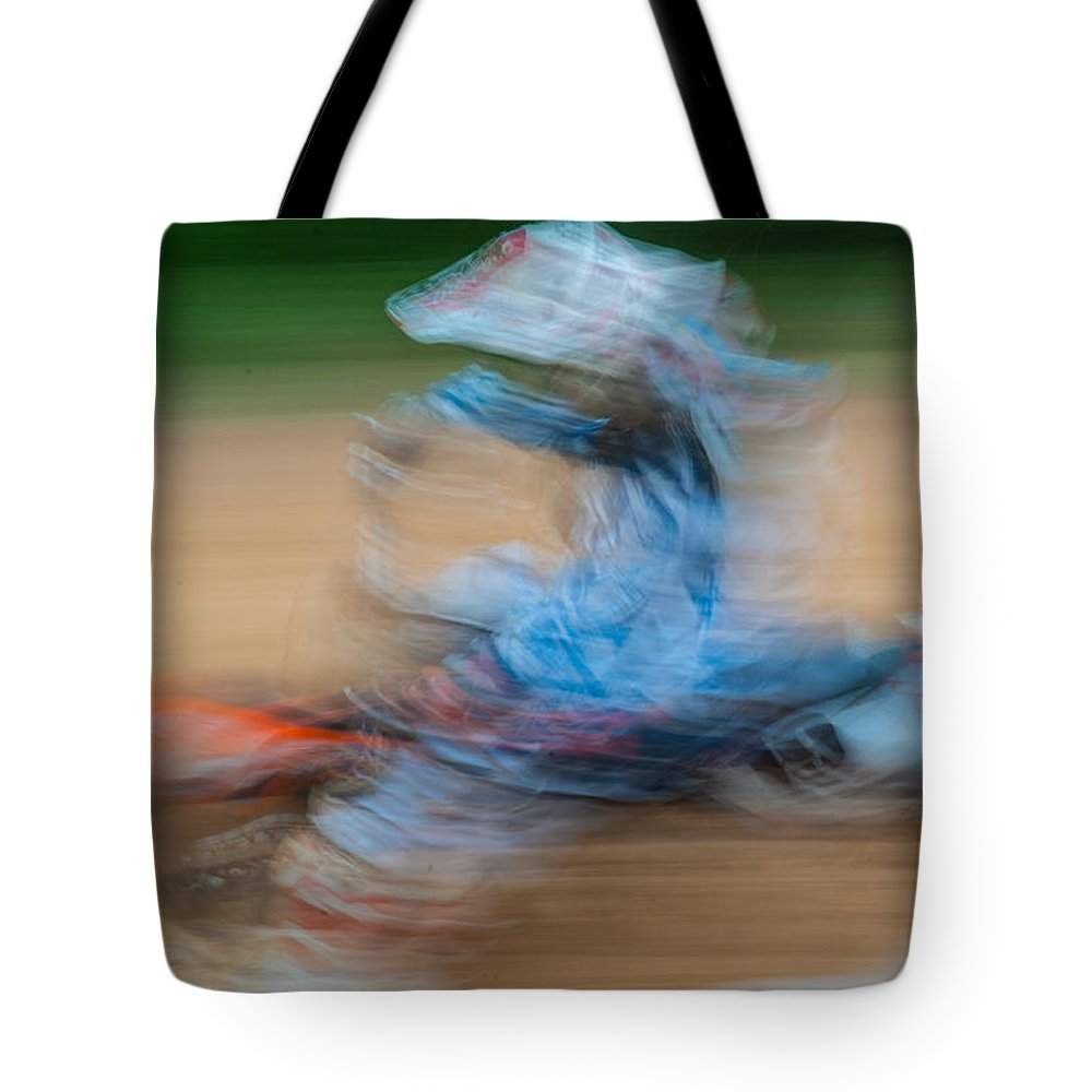 Blur Tote Bag featuring the photograph Mx Rider by Randy Walton