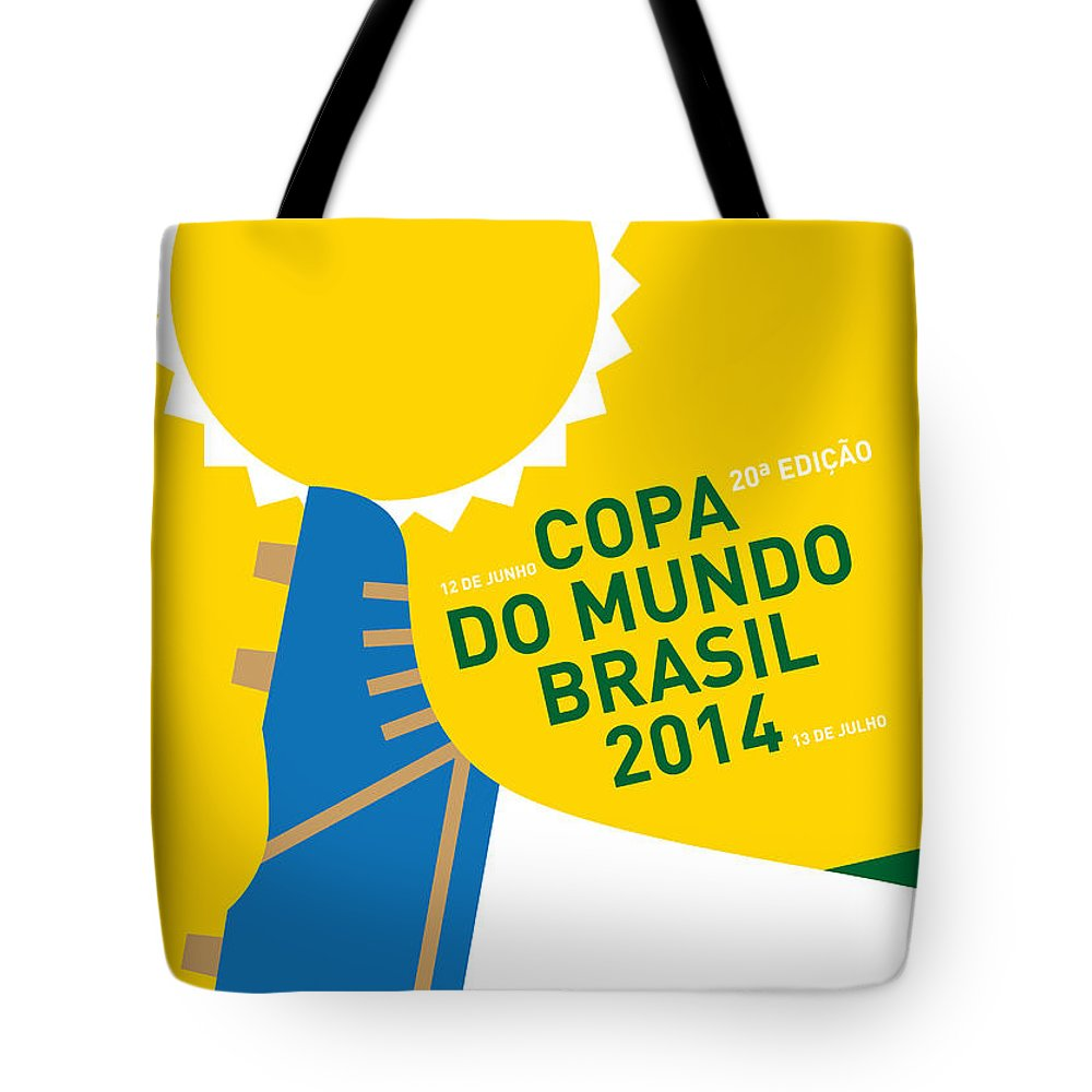 Brazil Tote Bag featuring the digital art My 2014 World Cup Soccer Brazil - Rio Minimal Poster by Chungkong Art