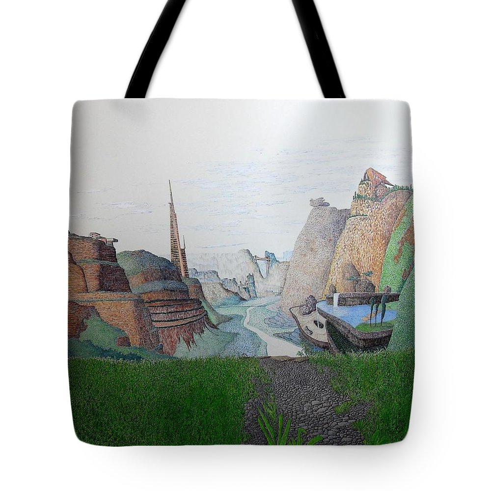 Landscape Tote Bag featuring the painting My Bigger Back Yard by A Robert Malcom
