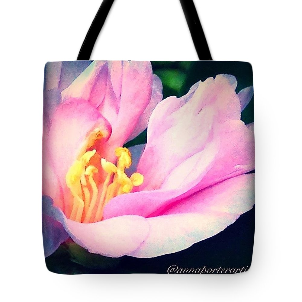 Pink Tote Bag featuring the photograph My Camellias Are Blooming by Anna Porter