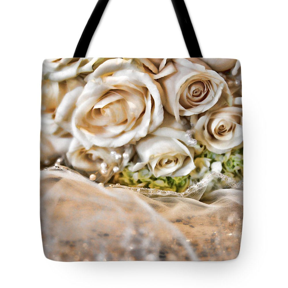 Roses Tote Bag featuring the photograph My Daughter's Bouquet By Diana Sainz by Diana Raquel Sainz