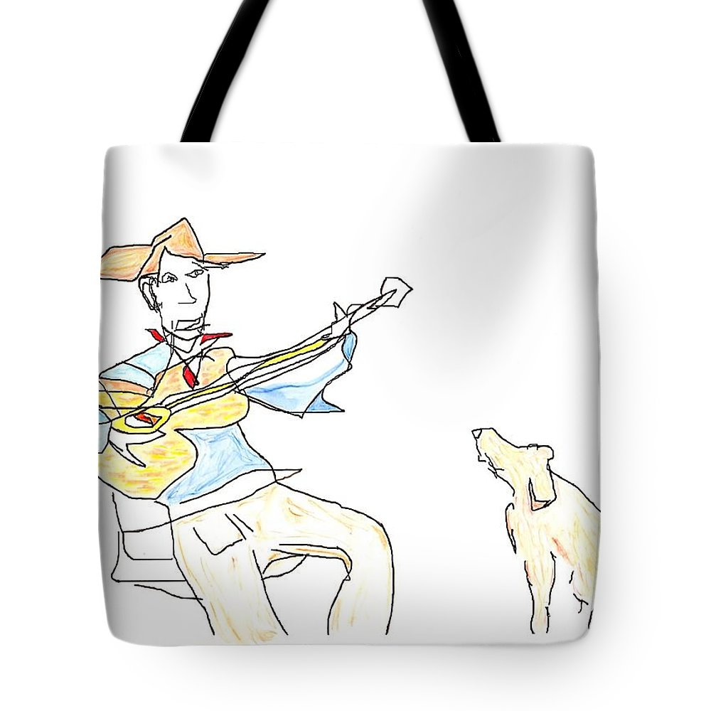 Jim Taylor Tote Bag featuring the painting My Dog Has Flees by Jim Taylor