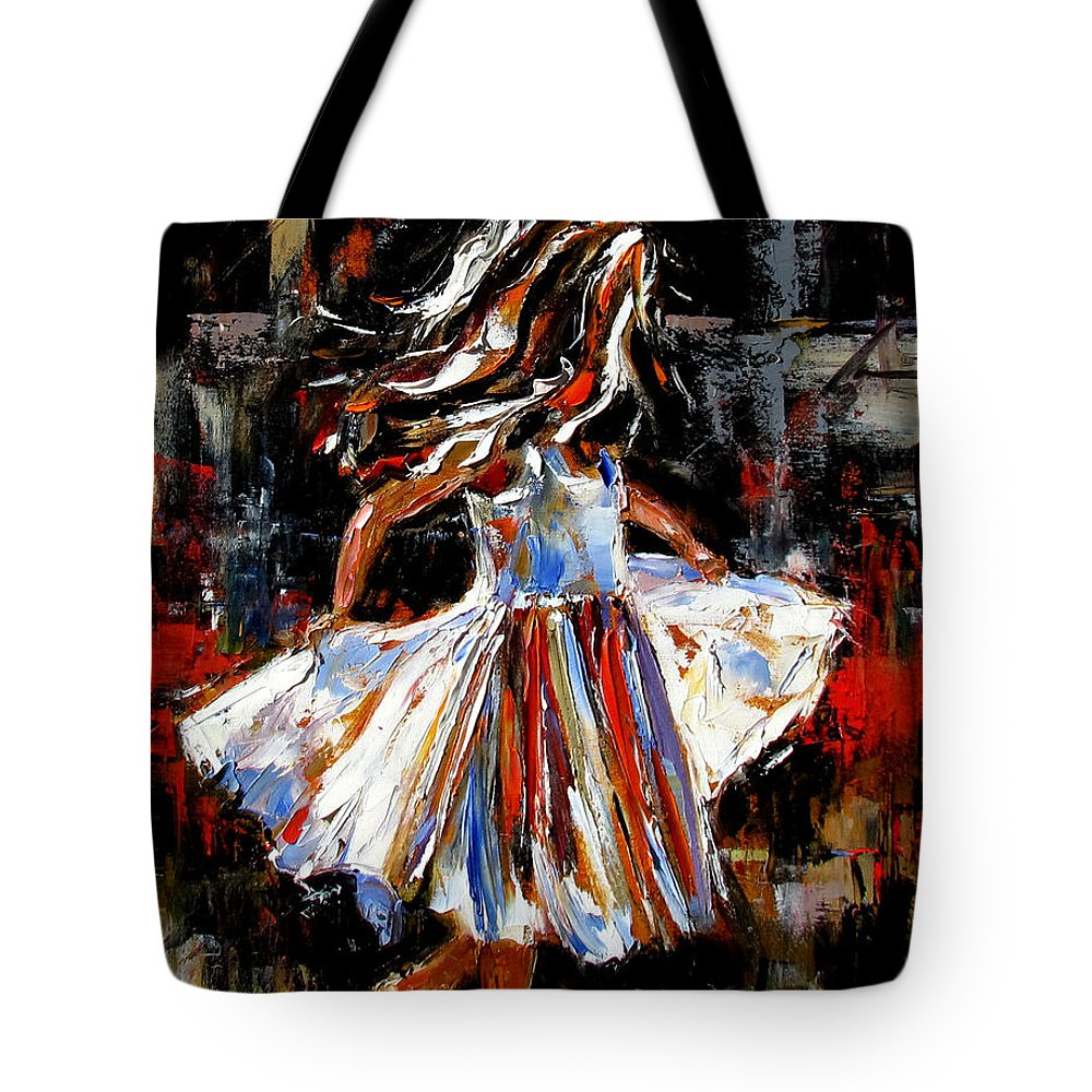 Child Tote Bag featuring the painting My Dress by Debra Hurd