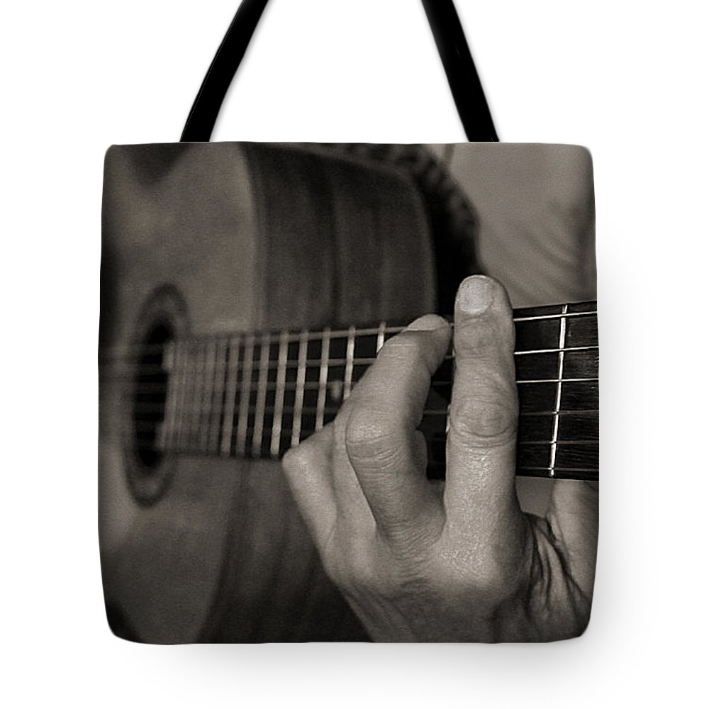 Guitar Tote Bag featuring the photograph My Father's Hands By Diana Sainz by Diana Raquel Sainz