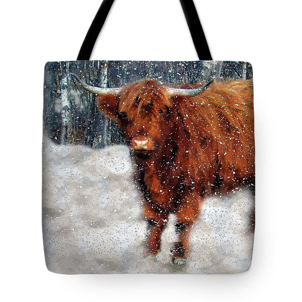 Bull Tote Bag featuring the painting My Feets Are Cold by RC DeWinter