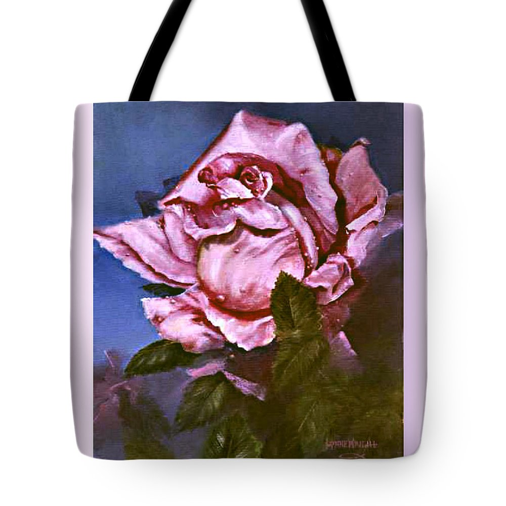 Floral Tote Bag featuring the painting My First Rose by Lynne Wright