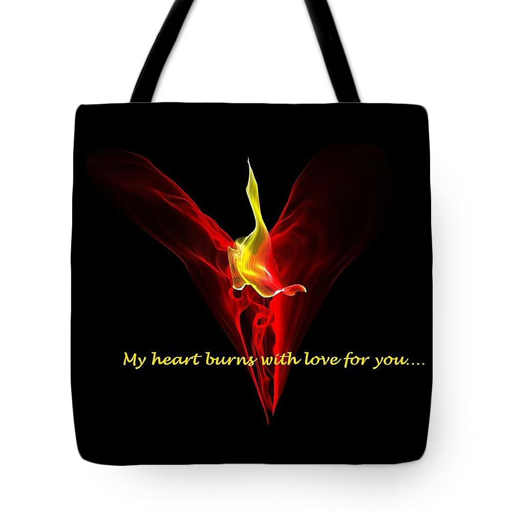 Digital Tote Bag featuring the digital art My Heart Burns With Love For You by Carol Sullivan
